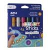 """APLI Tempera stift készlet, toll alakú, APLI \""""Kids\"""", 6 különböző metál szín [6 db]"""