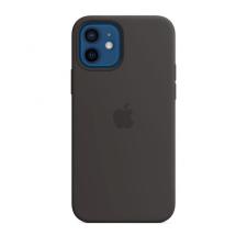 Apple iPhone 12/12 Pro MagSafe-rögzítésű szilikon tok, fekete tok és táska