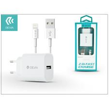 Apple iPhone 5/5S/5C/SE/6S/6S Plus USB hálózati töltő adapter + lightning adatkábel 1,2 m-es vezetékkel - 5V/2,1A - Devia Smart Fast Charger Suit - white audió/videó kellék, kábel és adapter