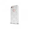 Apple iPhone 7 Plus, TPU szilikon tok, damaszkuszi virágminta, Ornament Case, fehér