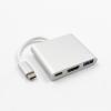 AppleKing Redukció USB-C-ről (Thunderbolt 3) 4K HDMI-ra + USB 3.0 + USB-C Apple MacBook készülékre - töltést támogat - ezüst