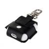 AppleKing Védő PU bőr tok Appla AirPods készülékhez karabínerrel - fekete