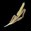 Arannyal bevont egyágú kalász bross cirkónia kristályokkal + AJÁNDÉK DÍSZDOBOZ (0352.)