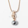 Arany bevonatos gyöngy medálos nyaklánc antrazit jwr-1293