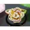 Aranyozott rózsa gyűrű Swarovski jellegű kristályokkal