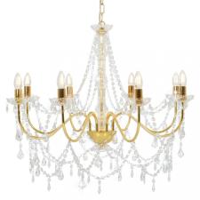 Aranyszínű csillár gyöngyökkel és 8 db E14 izzófoglalattal világítás