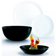 ARC INTERNATIONAL s.a. Arcoroc étkező szett 19db DIWALI fehér / fekete tányér és evőeszköz