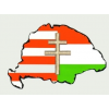Árpádsávos osztott kettőskeresztes hűtőmágnes Nagy-Magyarország körvonallal 14x8,5 cm