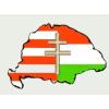 Árpádsávos osztott kettőskeresztes hűtőmágnes Nagy-Magyarország körvonallal 8x5 cm