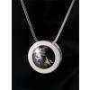ART CRYSTELLA Nyaklánc, SWAROVSKI® kristállyal, ezüstözött kerek medállal, black diamond, 15 mm, ART CRYSTELLA