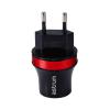 Astrum CH220 fekete - piros hálózati töltő 2.1A 2xUSB microUSB adatkábellel A92522-N