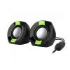 Astrum SU105 fekete-zöld 2.0 csatornás 3,5MM multimédia hangszóró USB-s áramellátással, hang