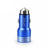 autóstöltő 2 USB dugóval, alumínium, kék