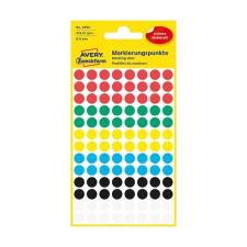 Avery Etikett AVERY 3008 öntapadó jelölőpont vegyes 6 szín 8mm 416 jelölőpont/csomag etikett