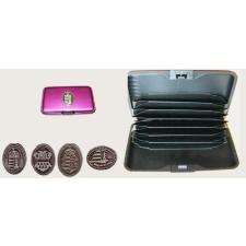 Bankkártya tartó metál pink színű ón koszorús címer matricával kiegészítő irodaberendezés