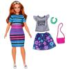 Barbie Fashionistas: Barna hajú molett Barbie, csíkos ruhában