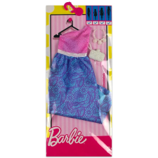 Barbie: rózsaszín-lila ruha táskával és nyaklánccal baba