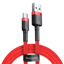 Baseus Cafule Kábel tartós nylon litzehuzal USB / USB-C QC3.0 3A 0,5M piros (CATKLF-A09) mobiltelefon kellék