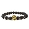BBH Inspirations Lávakő karkötő gold oroszlán medállal
