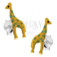 Bedugós fülbevaló, 925 ezüst, sárga fénymázas zsiráf zöld pontokkal fülbevaló