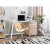 Beliani Design Világos Fa És Fehér Íróasztal 130 x 60 cm MONTEVIDEO