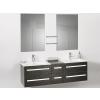Beliani Fürdoszoba bútor + két mosdó + két tükör - Fürdoszoba szekrény - MADRID fekete