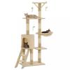 Bézs macskabútor szizál kaparófákkal 138 cm