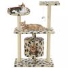 Bézs macskabútor szizál kaparófákkal 95 cm