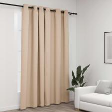 Bézs vászonhatású sötétítőfüggöny fűzőkarikával 290 x 245 cm lakástextília