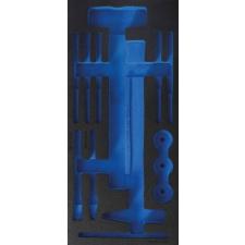 BGS Technic 1/3 szerszámtálca szerszámkocsihoz (408x189x32 mm), üresen: 14 részes cserélhető fejű kalapács, csapszegkiütő és véső készlethez (nem tartozék) (BGS 4219-1) barkácsolás, csiszolás, rögzítés