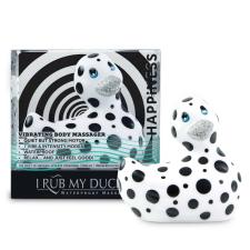Big Teaze Toys My Duckie Happiness 2.0 - pöttyös kacsa vízálló csiklóvibrátor (fehér-fekete) vibrátorok