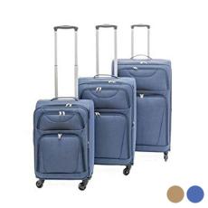 BigBuy Home Kabin bőrönd Set s Szövet 3 Darabok (Barna)