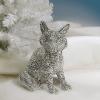 Bighome.hu Dekorácia líška DIAMANDS, 26 cm - strieborná