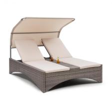 Blumfeldt Eremitage Double Lounger, kétszemélyes napozóágy, alumínium / rattan, sötétszürke kerti bútor