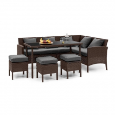 Blumfeldt Titania Dining Lounge Set, kerti ülőgarnitúra készlet, barna/sötétszürke kerti bútor