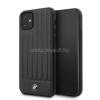 BMW iPhone 11 Pro Max csíkos fekete kemény bőrtok (BMHCN65POCBK)