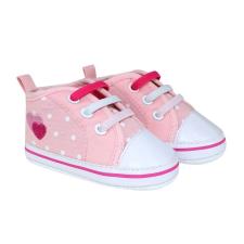 BUBABA babacipő, fűzős 9-12 hó - Rózsaszín, fehér pöttyös, szívecske minta gyerek cipő