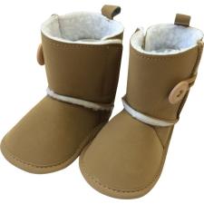 BUBABA babacipő tépőzáras, béléses 6-9 hó - Barna gombos gyerek cipő