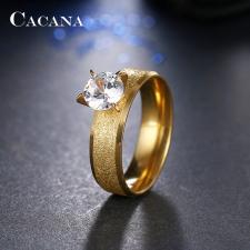 CACANA nemesacél gyűrű cirkónium kővel, arany színű,6 gyűrű
