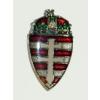Címerpajzs koronás kettős keresztes jelvény (27 mm)