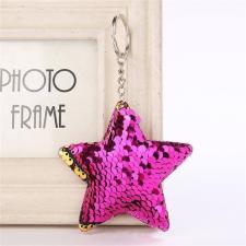 Csillag flitteres pompom/kulcstartó, sötét pink kulcstartó