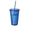 Cyclone duplafalú pohár szívószállal, kék