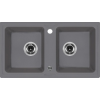 Deante 'Deante ENIGMA Gránit mosogató, szögletes 2 medence, metál szürke, 780 x 435 mm'