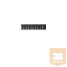 DELL SRV DELLEMC Networking - Switch X1026P, 1U, 24x 1GbE (up to 12x PoE+) + 2x 1GbE SFP ports. hub és switch