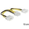 DELOCK 2 x 4 pin Molex (M) - 8 pin (M) EPS tápkábel 15 cm