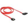 DELOCK 6 Gb/s SATA-kábel egyenes csatlakozódugóval > jobbra nézo SATA, 70 cm, piros, fém