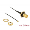 DELOCK Antenna Cable RP-SMA Jack Bulkhead > MHF IV/ HSC MXHP32 compatible plug 200 mm thread length 9 mm splash proof