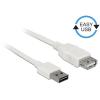 DELOCK Bovíto kábel EASY-USB 2.0-s A típusú csatlakozódugó > USB 2.0 A-típusú hüvely fehér 2 m