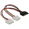 DELOCK Cable Power SATA 15pin > 2x 4pin Molex female 20cm