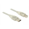 DELOCK Cable USB 2.0 Type-A male > USB 2.0 Type-B male 5m transparent